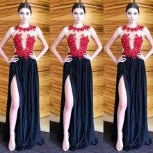 Vestidos de Fiesta Formal Sexy Lange Spitze Applique Eine linie Ballkleider mit Höhe Aufgeschlitzte 2016 Party Kleider Vestidos Longos