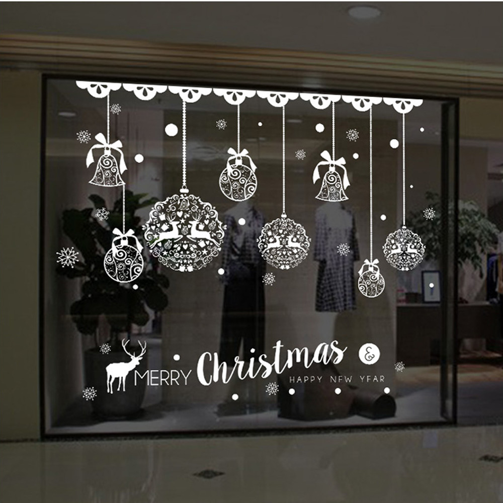 2018 new year shop window stickers merry christmas bells deer 1pc christmas wall stickers amipublicfo Gallery