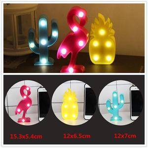 Image 5 - Светодиодный мини ночник с 3D фламинго, табличка с Фламинго/КАКТУСОМ/ананасом, настольные 3d лампы, настенная лампа с Луной, приспособление для домашнего декора, лампа