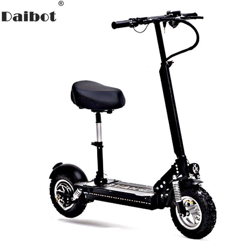 Daibot 10 pouces puissant vélo électrique 48 V deux roues Scooters électriques vitesse Max 60 KM/H pliant Scooter électrique 1000 W adultes