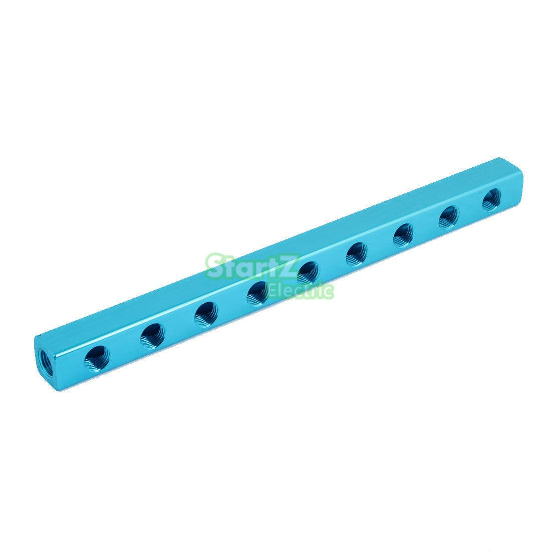 1/4 PT Thread 9 Way Quick Connector Air Hose Manifold Block Splitter Blue air compressor 1 2bsp 2 way hose pipe inline manifold block splitter teal blue