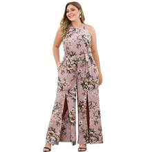 Summer Plus Size 3XL 4XL Pink Flower Printed Sleeveless Jumpsuits Women Split Sexy Pockets Casual Bohemian Jumpsuits Ladies(China)