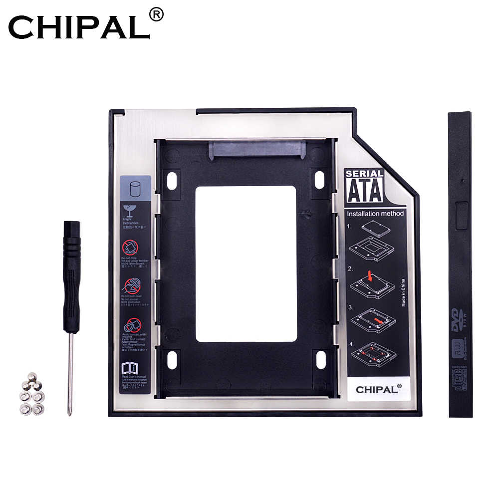 "Chipal Universal SATA 3.0 2nd HDD Caddy 9.5 Mm untuk 2.5 ""2 TB SSD Case Hard Disk Enclosure dengan LED untuk Laptop DVD-ROM Optical Bay"