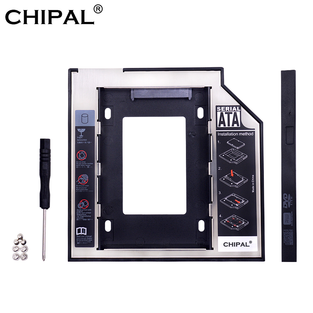 """CHIPAL Universal SATA 3.0 2nd HDD Caddy 9.5mm for 2.5"""" 2TB SSD Case Hard Disk Enclosure with LED for Laptop DVD-ROM Optical Bay(China)"""