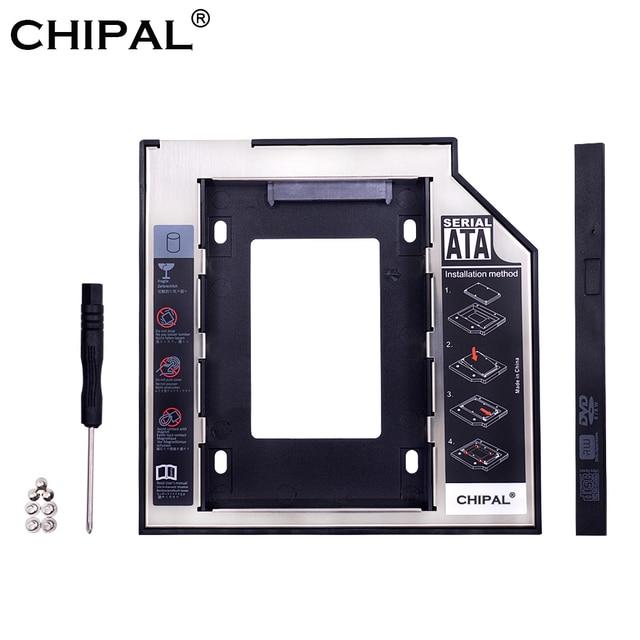 "CHIPAL Universal SATA 3,0 2nd HDD Caddy 9,5mm para 2,5 ""2 TB SSD caso Disco Duro carcasa con LED para el ordenador portátil DVD-ROM óptico"