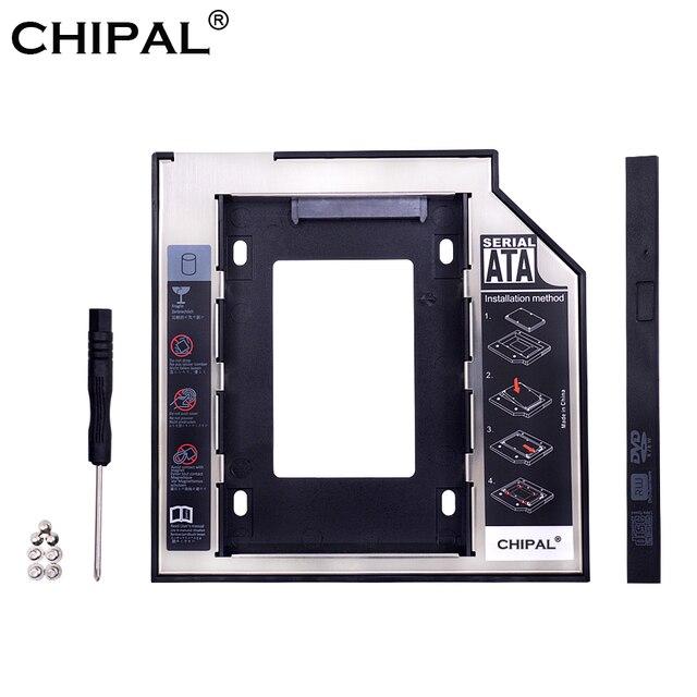 """CHIPAL Đa Năng SATA 3.0 2nd HDD 9.5mm cho 2.5 """"2 TB SSD Ốp Lưng Cứng kèm ĐÈN LED cho Laptop DVD-ROM Quang Vịnh"""