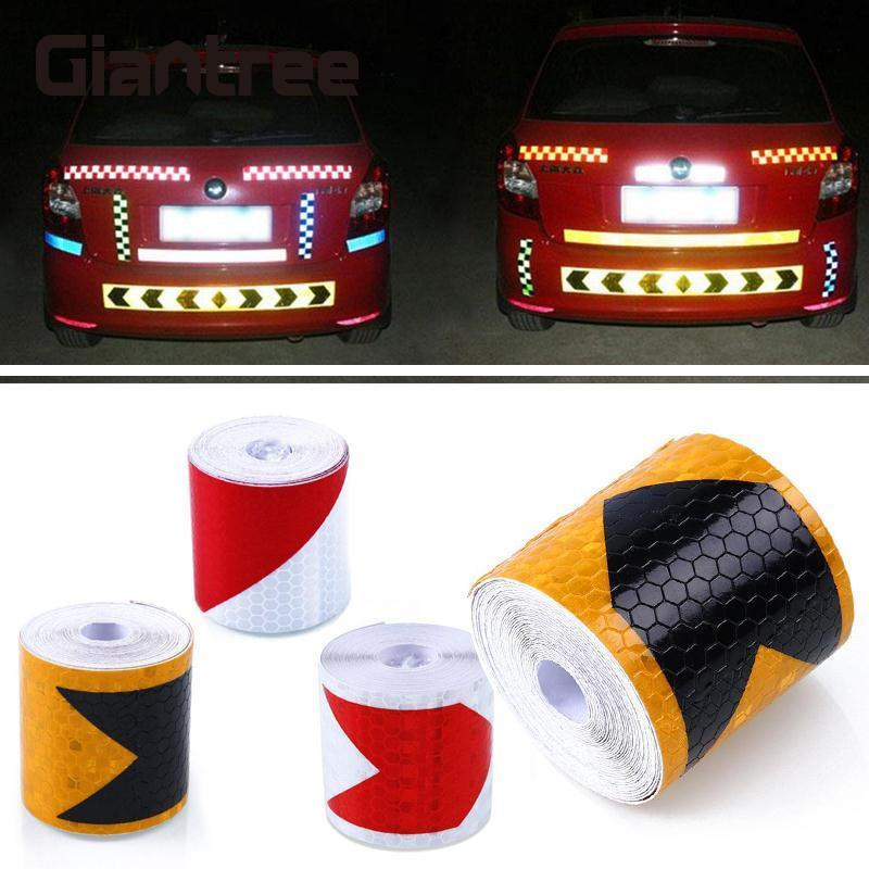 Giantree 5cm*4m Warning Reflective Material Reflective Film Safety Warning Adhesive Tape Sticker for Car Truck Motorcycle Bike 5sheets pack 10cm x 5cm holographic adhesive film fly tying laser rainbow materials sticker film flash tape for fly lure fishing
