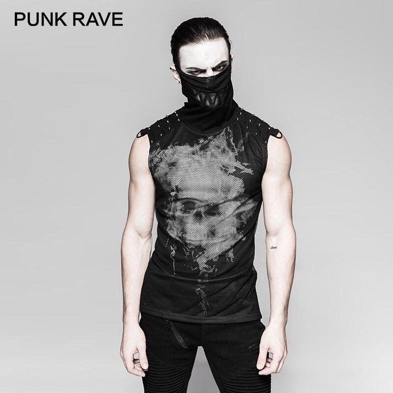 PUNK RAVE Punk crâne 3D impression numérique fantôme dents col haut T-shirt Rivets épaule Transparent sans manches gilet hauts t-shirts