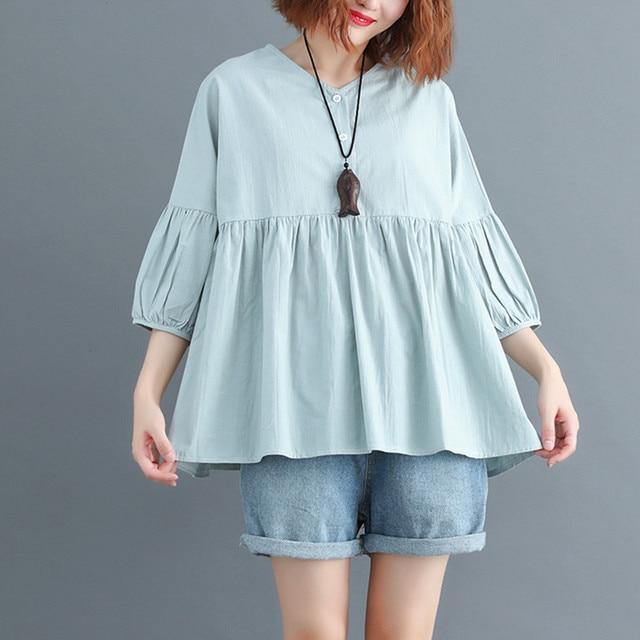 81b3bede919 Round Collar Cotton Blouse Women Autumn Summer Kawaii Babydoll Tops Ladies  Casual Loose Lantern Sleeve Linen