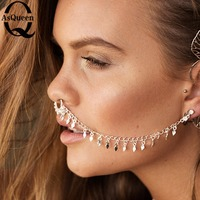 Hot Sale Tassel Punk Nose Ring With Chain Clip On Body Jewelry Fake Septum Piercing Hanger