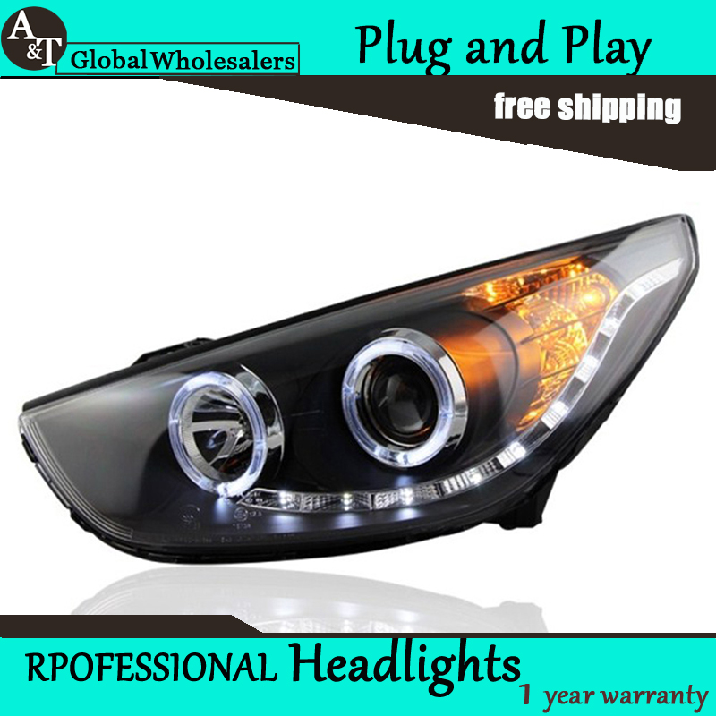 Car Styling for New Tuscon Headlight assembly IX35 LED Headlight LED DRL Lens Double Beam H7 with hid kit 2pcs.