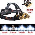 8000LM LED Zoom Headlight 3xCREE XML T6 Zoomable 18650 Headlamp 4 Modes Rechargeable Head Torch Linterna