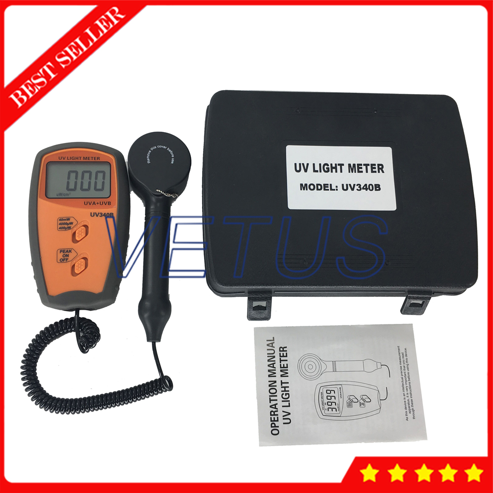 UV340B Digital UV intensity meter with 280 380nm UV Lux Light Meter UVA UVB Detector Tester