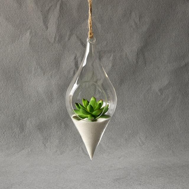 Soledi Hanging Glass Vase Hanging Terrarium Hydroponic Plant Flower