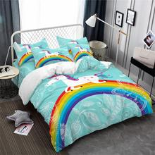 цена Sky Blue Unicorn Bedding Set Kids Colorful Cartoon Duvet Cover Set Rainbow Floral Print Bed Cover Festival Gift Bed Cover D35 в интернет-магазинах