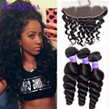8A Malaysian Virgin Hair With Frontal Closure Human Hair 3 Bundles Malaysian Loose Wave With 13x4 Ear To Ear Full Lace Frontal