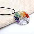 Wisdom Tree Necklace Rainbow 7 Chakra Amethyst Tree Of Life Quartz Chips Women Pendant Necklace Natural Stone Necklaces Leather