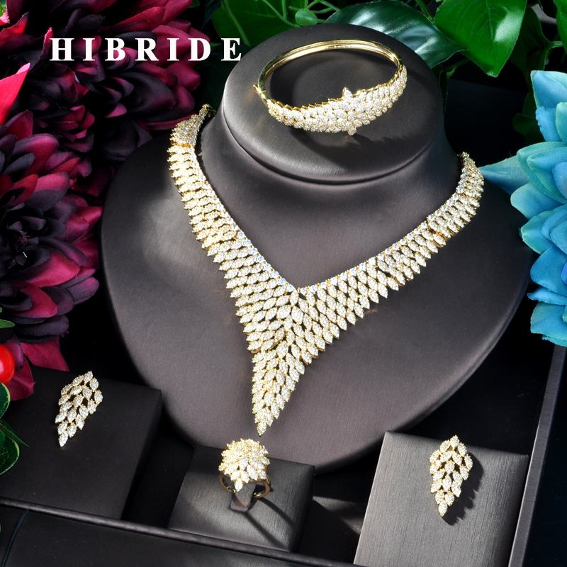 HIBRIDE Luxury Design Gold Color Nigerian Wedding Cubic Zirconia Necklace Dubai 4PCS Dress Jewelry Set For Party Gifts N-824HIBRIDE Luxury Design Gold Color Nigerian Wedding Cubic Zirconia Necklace Dubai 4PCS Dress Jewelry Set For Party Gifts N-824