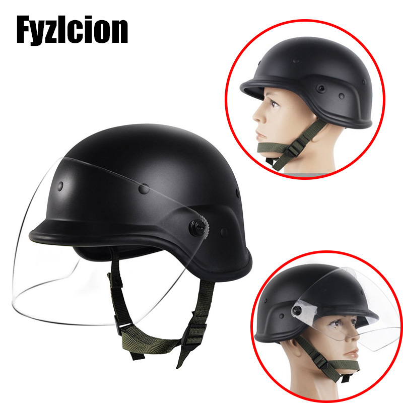 Tactical Military Airsoft M88 PASGT Kelver Helmet with Clear Visor Personnel Armor System for Ground Troops Combat Swat Helmet