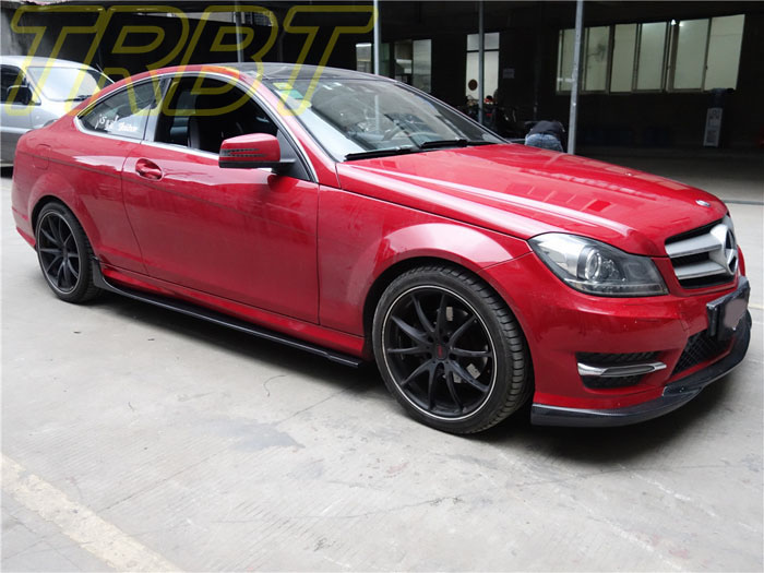 C180 coupe carbon fiber side skirt underboard w204 2 door for Mercedes benz exterior car care kit