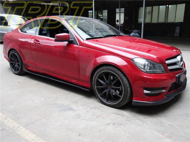 US $608 0 |C180 Coupe Carbon Fiber Side Váy Underboard W204 2 Door Body kit  C63 AMG Coupe Váy Lip Spoiler Trường Hợp Đối Với Mercedes Benz