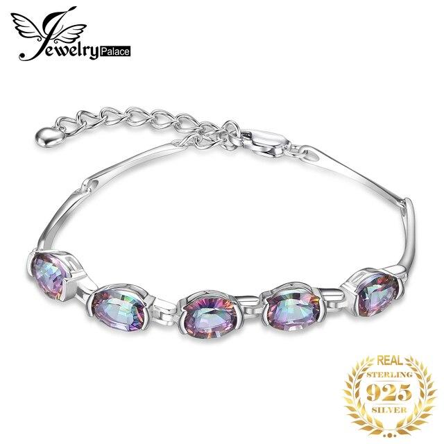 JewelryPalace 2.5ct Tự Nhiên Rainbow Mystic Topaz Thạch Anh Nữ Bạc 925 Bóng Vòng Tay Nữ Mỹ Trang Sức Đá Quý Quà Tặng
