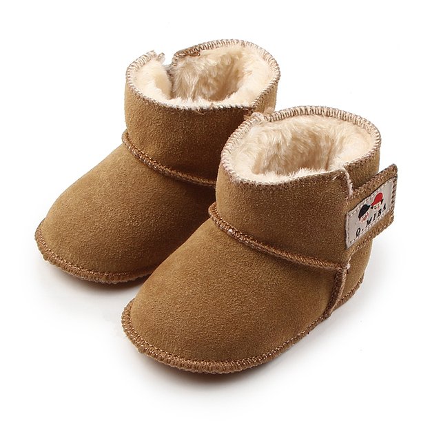 New Warm Baby Winter Booties Genuine Leather First Walkers Babies Solid Baby Girl Boy Boots Shoes 0-12 Months