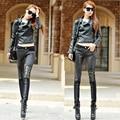 Botas de moda 2017 Mulheres PU Retalhos De Couro Calças Jeans Zíperes Calças Compridas Calças Lápis Marrom Preto Plus Size DP861434
