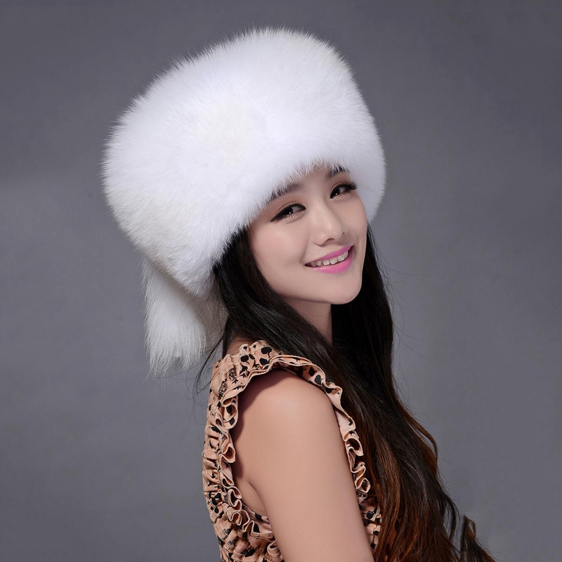 Top Quality New Natural Real White Color Women Fox Fur Hats Female Winter Silver Fox Gift Retail Genuine Raccoon Fur Wholesale guess new silver white women s medium m cropped gathered halter top $49 007