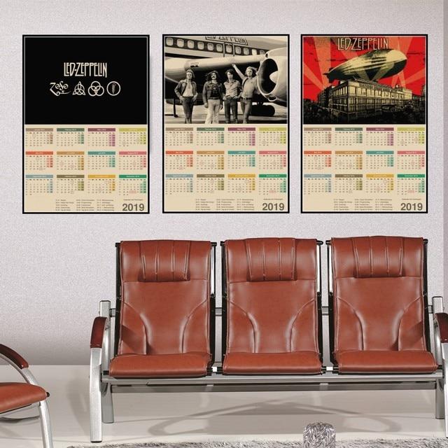 Led Zeppelin Rock Music 2019 Calendar Kraft Paper Poster Home