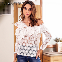 EVERAFTER Ruffled lace embroidery white women blouse long sleeve one shoulder elegant sexy hollow out feminine blouse shirt tops цена 2017