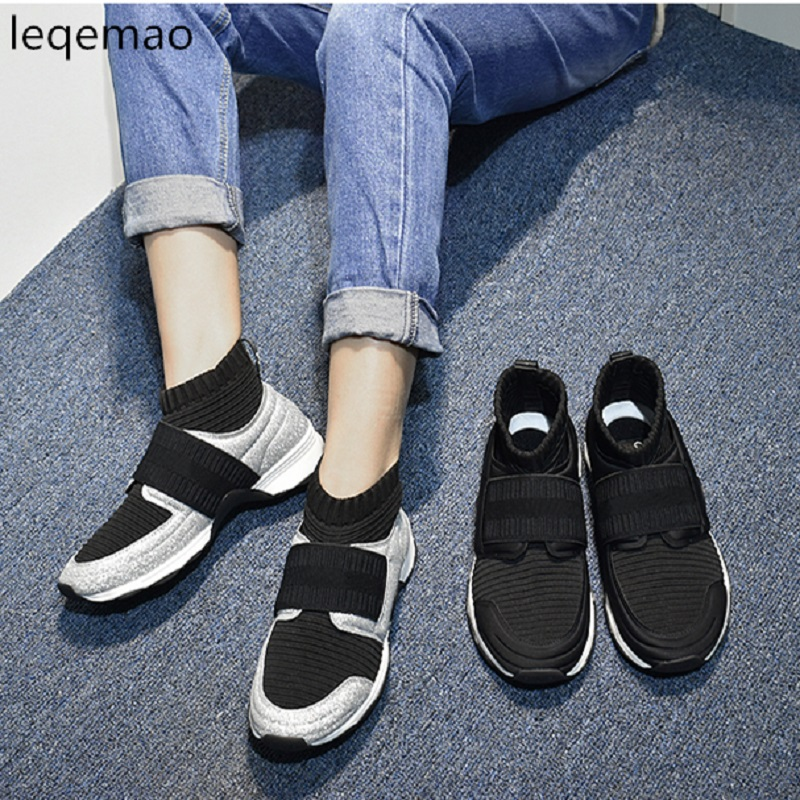 Sale New Brand Star Fashion Runway Shoes High Quality Women Sneakers Stretch Sock Mixed Color Short Round Toe Female Ankle Boots yanicuding luxury brand round toe sock women boots slip on short booties stretch shoes autumn winter girl lady runway star shoe