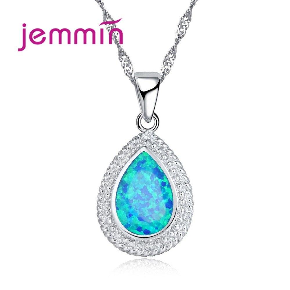 Evropská modrá oheň opál svatební obojek náhrdelník pro nevěsty 925 mincovní stříbro voda kapka přívěsky náhrdelníky pro ženy