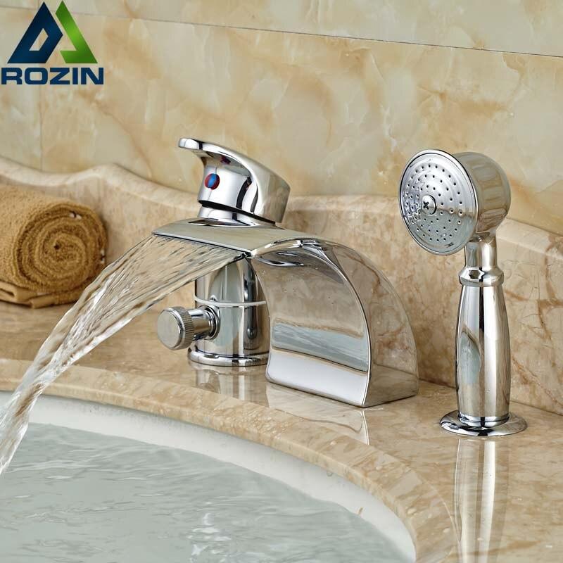 moderna singola maniglia 3 fori cascata vasca da bagno miscelatore rubinetti rubinetto vasca con doccia palmare