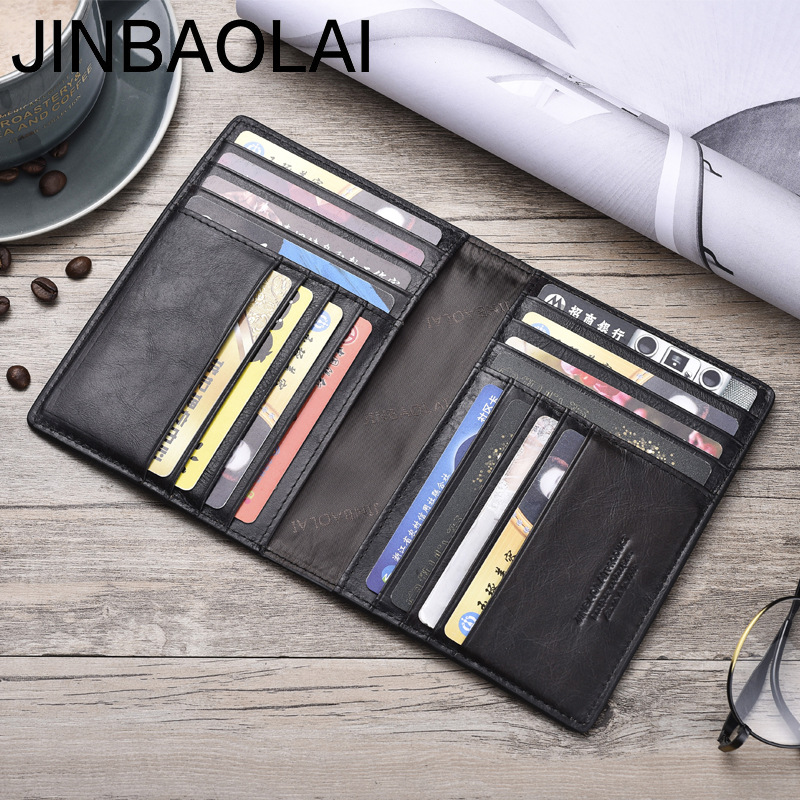 JINBAOLAI Card Wallet Thin Slim Vintage Genuine-Cow-Leather High-Quality 100-%
