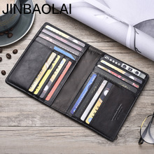 2019 JINBAOLAI Men Wallets Slim 100% Genuine Cow Leather Card Wallet T