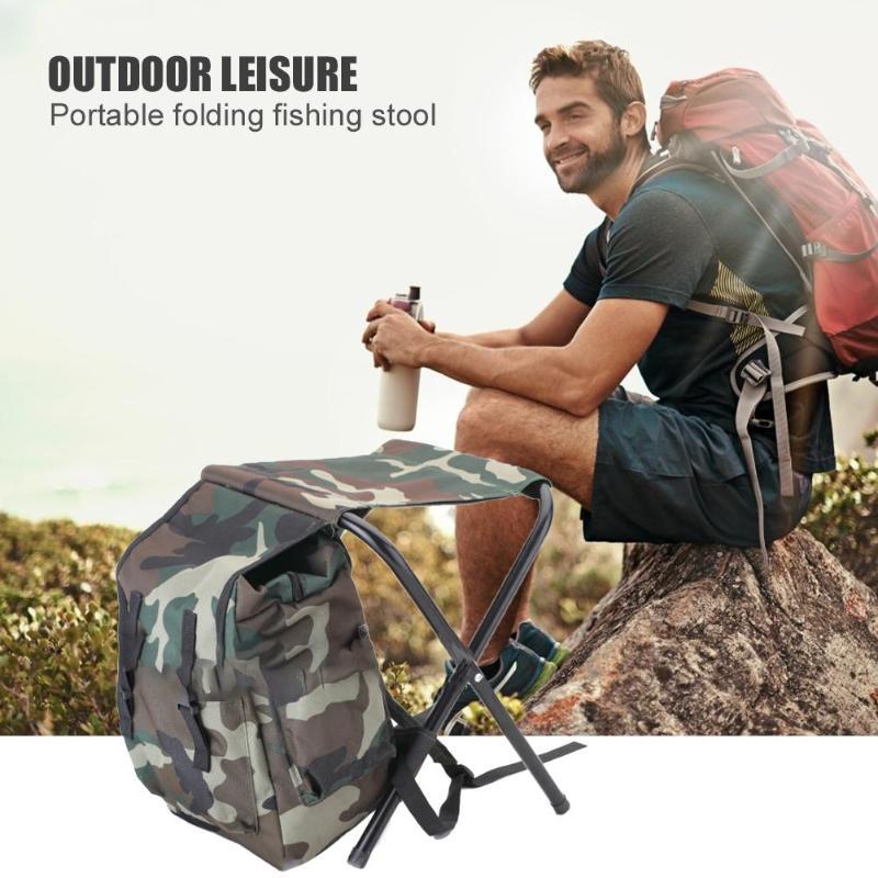 Dobrável cadeira de pesca fezes acampamento mochila