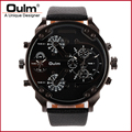 oulm brand model HP3548 promotion dual time watch with PC21S movt and leatheroid belt