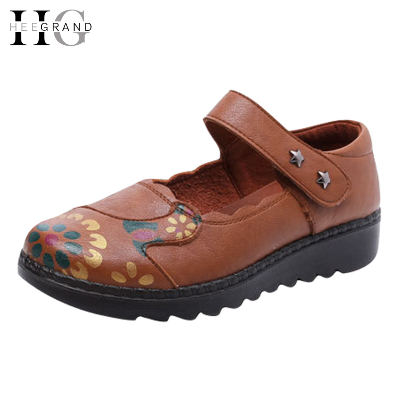 HEE GRAND Print Loafers 2017 New  Sandals Summer Platform Shoes Women Comfort Creepers Women Shoes Plus Size 35-41 XWZ3852 timetang 2017 leather gladiator sandals comfort creepers platform casual shoes woman summer style mother women shoes xwd5583