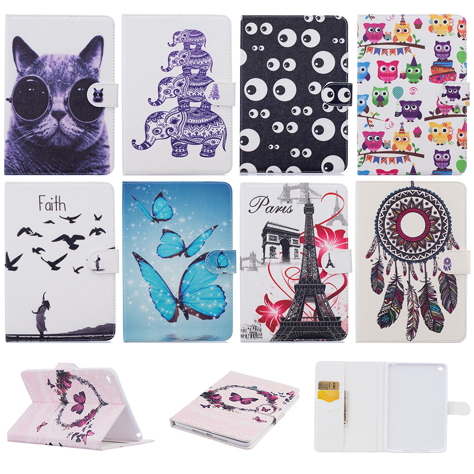 Fashion Butterfly Cat Pattern PU Leather Flip Case Funda For Apple iPad 6 Air 2 9.7 inch Tablet Back Cover Coque For iPad Air2