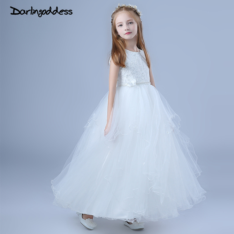 High Quality 2018 Princess Style   Dress   For First Communion White Pink Tulle Lace with Bow Cheap   Flower     Girl     Dresses   for Weddings