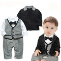 2017 New Baby Rompers Toddlers Baby Boy 2 pcs Set  Gentleman Ties Rompers +Jackets Wedding Party  Boys Clothes Vestido Infantil