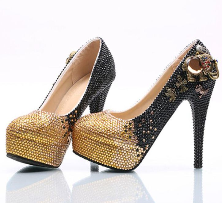 Plus size gold wedding shoes woman super high heels HS149 thin heels sexy platforms gold black crystal handmade party pumps