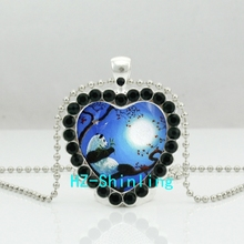 New Panda Crystal Heart Necklace Panda on the Tree Crystal Pendant Jewelry Silver Heart Shaped Necklaces