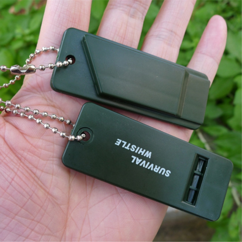 2pcs Outdoors High Decibel Portable Keychain Whistle Stainless Steel Double Pipe Emergency Survival Whistle Multifunction Tool