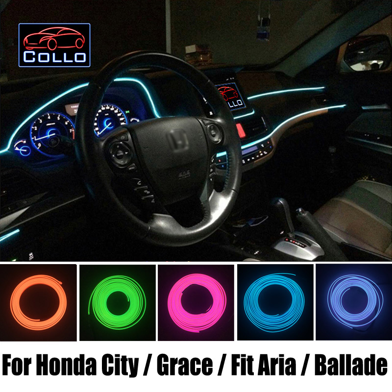 EL Wire For Honda City / Grace / Fit Aria / City ZX / Ballade / City S / Car Romantic Atmosphere Lamp / Console Decorative Strip 565 aria red