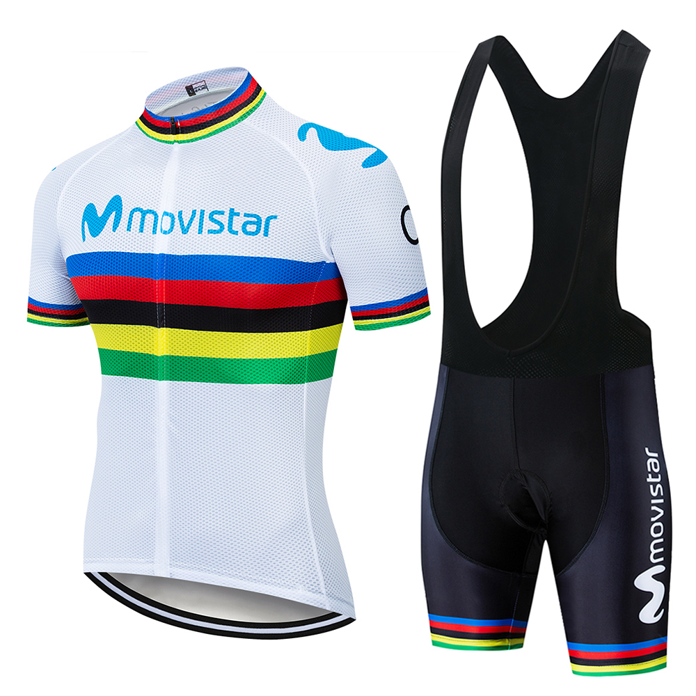 2019 White rainbow movistar Cycling Clothing Bike jersey Quick Dry Bicycle clothes mens summer team Jerseys