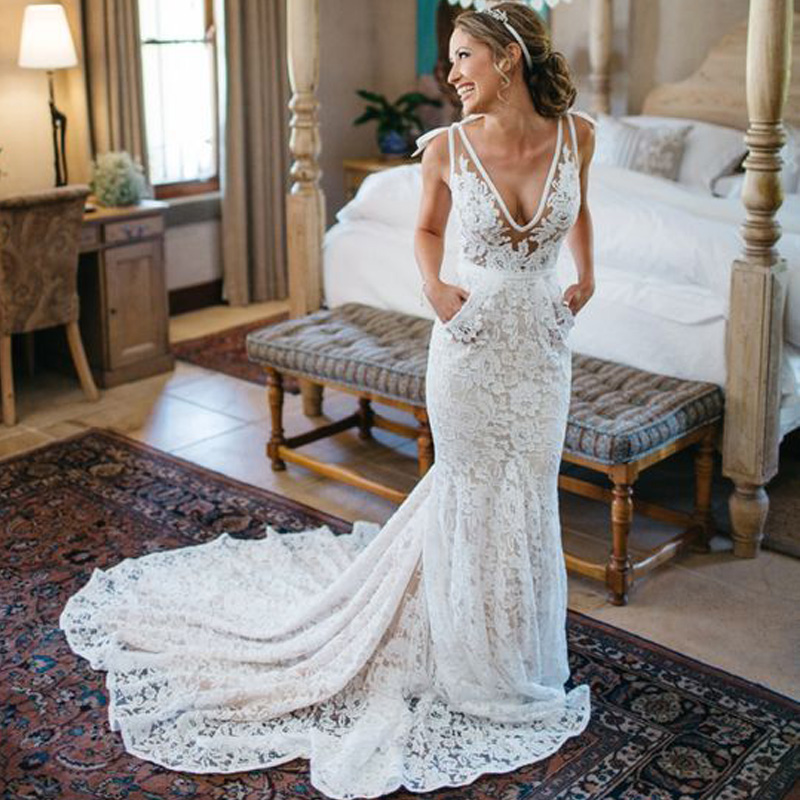 LORIE Ivory Lace Mermaid Wedding Dress 2018 Robe De Soiree Backless Sexy Bridal Dresses Plunging Spaghetti Straps Wedding Gown