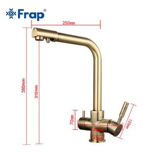 Frap бронзовый античный высокий кухонный кран для раковины Смеситель для питьевой воды с очисткой воды особенности двойная ручка F4352-4