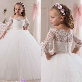 2019 Cheap Off The Shoulder Flower Girls Dresses Long Sleeve Back Cover Button Puffy Tulle Holy First Communion Dress Kids Pagea